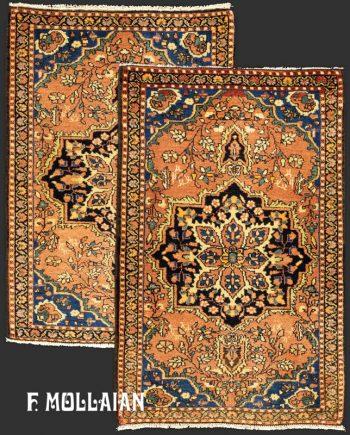 Pair of Small Antique Persian Saruk Farahan Rugs (78×50 cm)