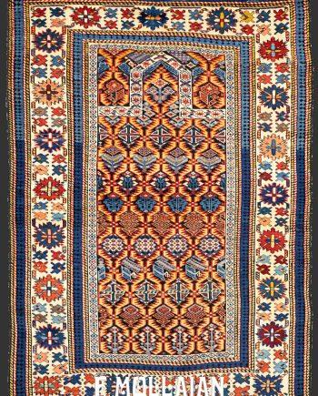 Antique Classical Prayer (Mihrab) Design Caucasian Daghestan Rug (150x100 cm)